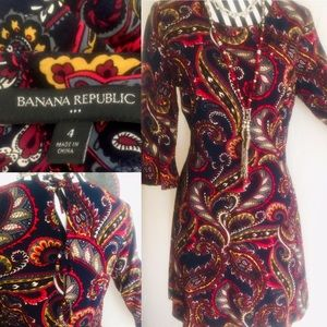 Banana Republic Navy Paisley Rayon Tye Back Dress